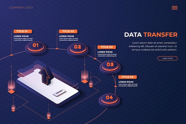 3d infographic landingpage phone data transfer with orange and blue color for web