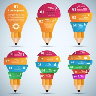 3d-инфографика. значки с лампочкой и карандашом.