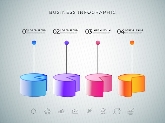3d infographic pie chart color element or graph with four steps