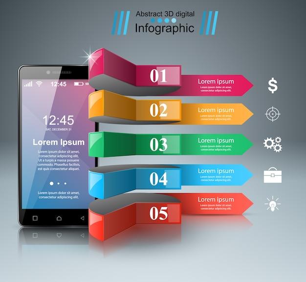 3dインフォグラフィック。スマートフォンアイコン。