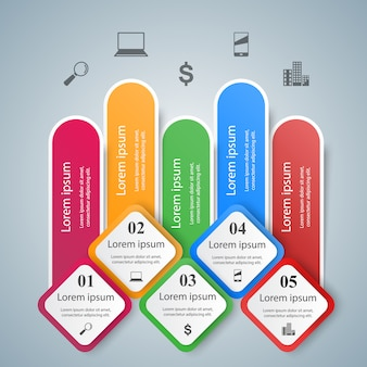 3d infographic  template and marketing icons