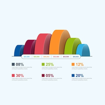 3d infographic template with colored 6 step vector