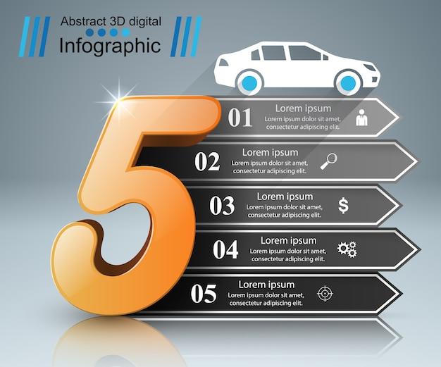 抽象的な3dデジタル画像infographic