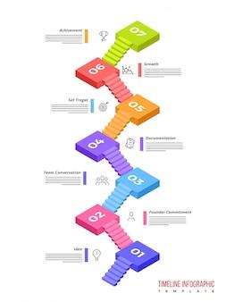 3dタイムラインinfographicsレイアウトは7つのステップで構成されています。