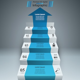 3d infographics and business ladder