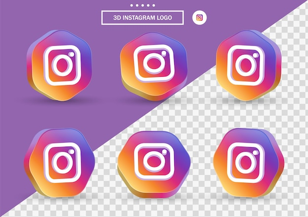 3d instagram icon in modern style frame and polygon for social media icons logos