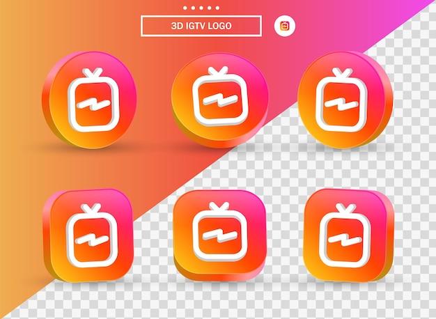소셜 미디어 아이콘 로고를 위한 현대적인 스타일의 원형과 사각형의 3d 인스타그램 igtv 로고