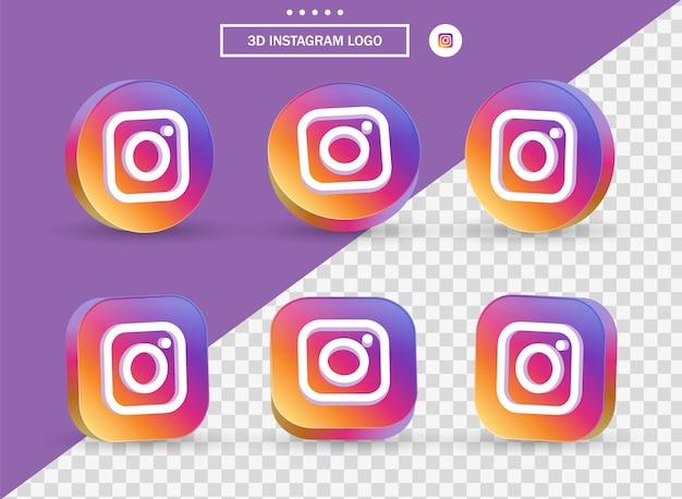 소셜 미디어 아이콘 로고를 위한 현대적인 스타일의 원형과 사각형의 3d 인스타그램 로고