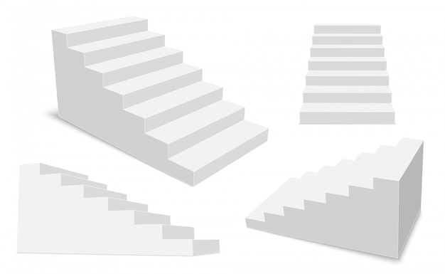3d interior staircases, white stage steps.