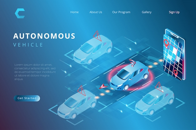 自律型自動化システム、アイソメトリック3dスタイルのiotシステム制御を備えたスマートカーの印刷図