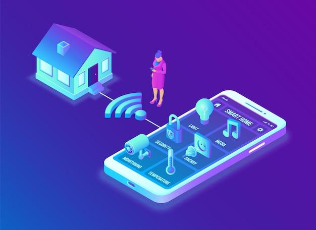 Концепция системы умный дом. 3d изометрическая система дистанционного управления домом. концепция iot.
