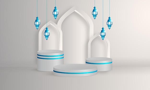 アラビア語のランタンを備えた3dイスラム表彰台製品の展示