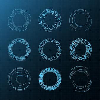 3d 고립 된 미래 사용자 요소 설정 가상 현실 홀로그램 기술 개념