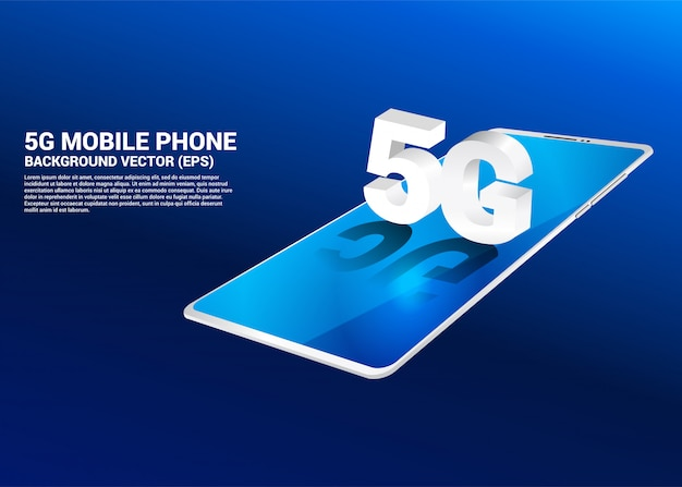 3d isometric 5g on mobile phone.