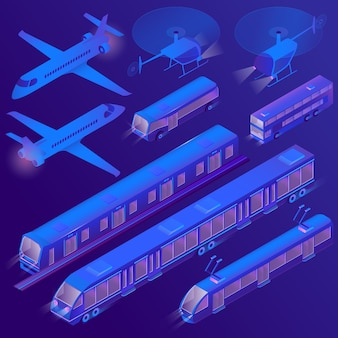 3d isometric air, land passenger transportation