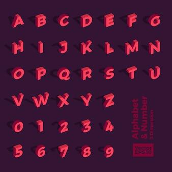 3d 아이소 메트릭 알파벳 및 숫자
