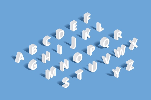 3d isometric alphabet. design letter, typography abc set, character geometric typo sign