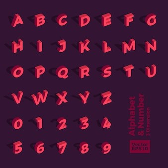 3d isometric alphabet and number