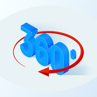 3d isometric angle 360 degrees view sign.