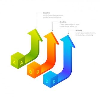 3dアイソメトリック矢印インフォグラフィック要素