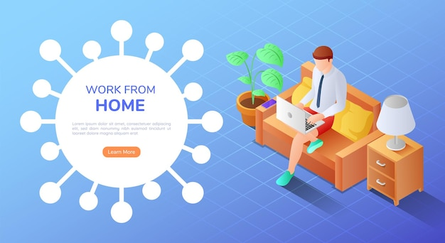 집에서 소파에 앉아 노트북 작업을 하는 3d 아이소메트릭 배너 사업가 집에서 작업