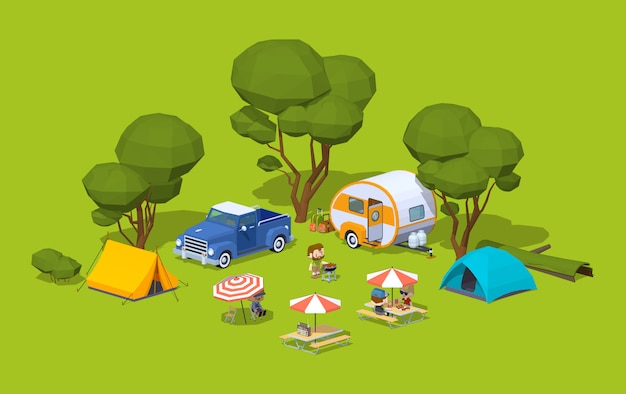 3d isometric barbecue in the tourist camp