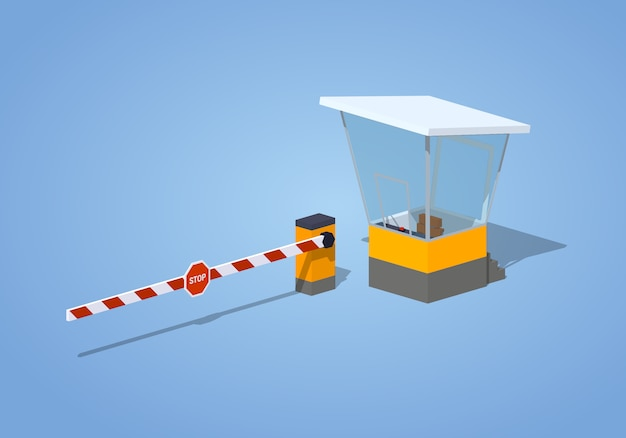 3d isometric barrier and toll booth