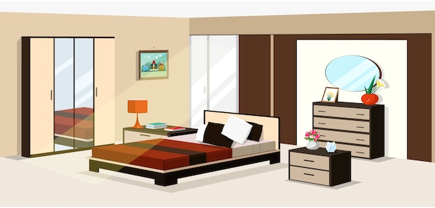 3 dの等尺性の寝室のデザイン。モダンな等尺性の寝室の家具のベクトルイラスト: