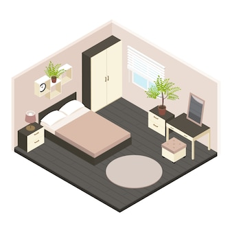 3d isometric bedroom interior