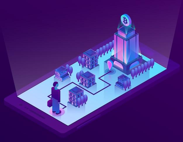 스마트 폰에 cryptocurrency의 채굴을위한 건물, 사무실 3d 아이소 메트릭 비트 코인 개념