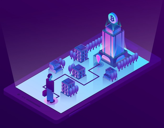3d isometric bitcoin concept with building, office for mining of cryptocurrency on smartphone
