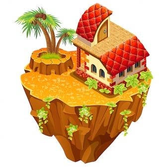 3d isometric building on desert island.
