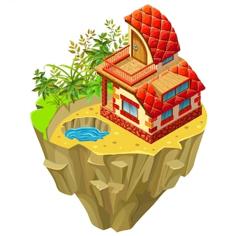 3d isometric building on desert  island.