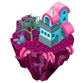 3d isometric building on the island.