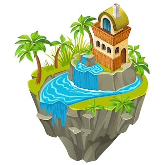3d isometric building on jungle island.