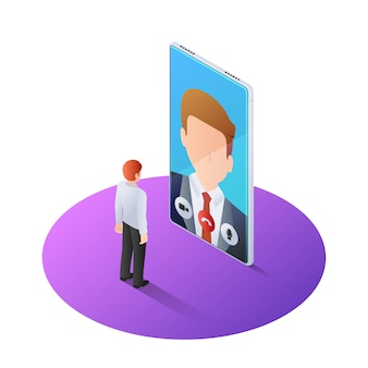 3d isometric businessman having video call with boss on smartphone