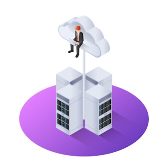 3d isometric businessman with laptop sitting on cloud
