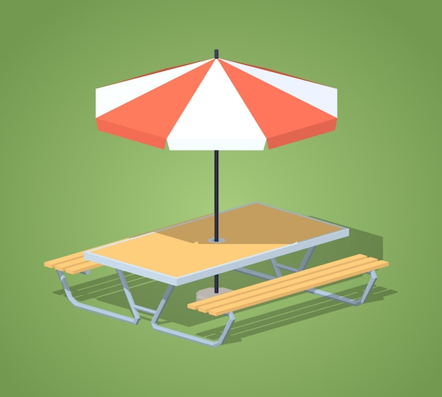 3d isometric cafe table with sun umbrella
