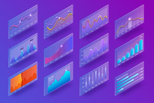 3d isometric chart and graphics