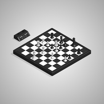 3d isometric chess board pieces and clock