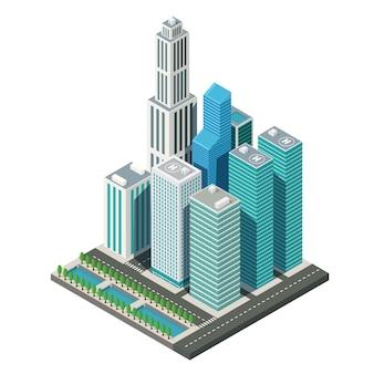 3d isometric city map運河、イラストベクトルと超高層ビルの風景