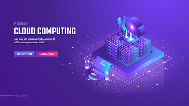 3d isometric cloud computing landing page template