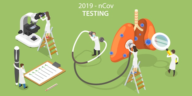 2019-ncovウイルスの実験室試験の3dアイソメトリックコンセプト。