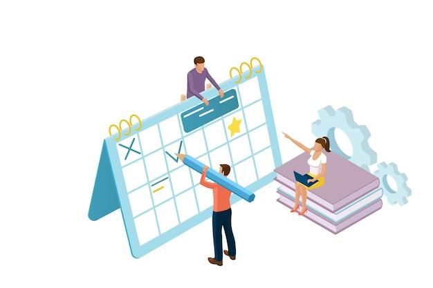아이소 메트릭 사람들과 사업 계획의 3d 아이소 메트릭 개념. 웹 배너에 대한 개념. 흰색 배경에 고립 된 문자로 팀웍 일정 배너.