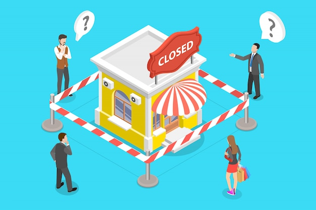 3d isometric concept of stores closing and businesses bankrupt.