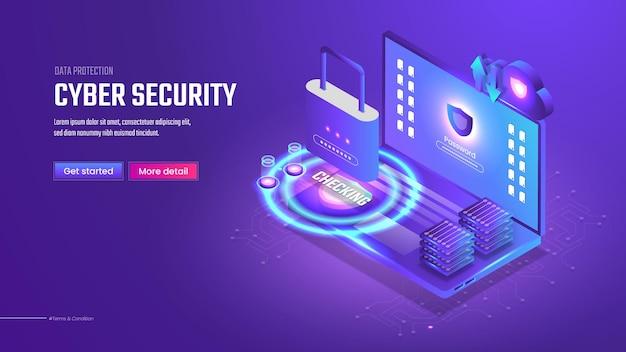 Целевая страница изометрической кибербезопасности 3d