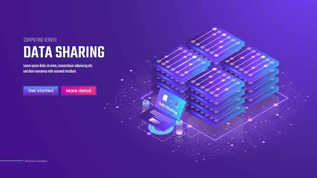 3d isometric data sharing landing page template