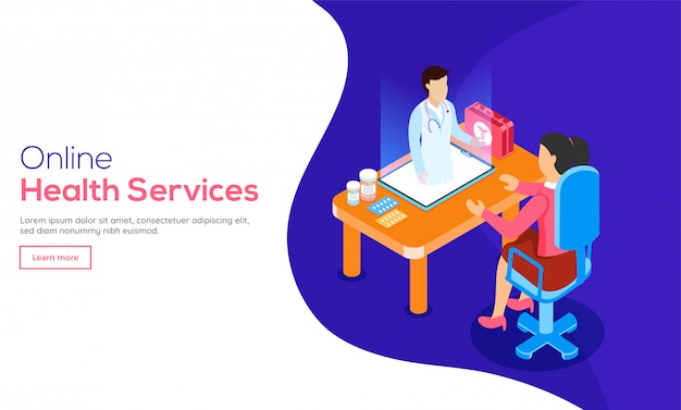 3d isometric design of online medical consultation.