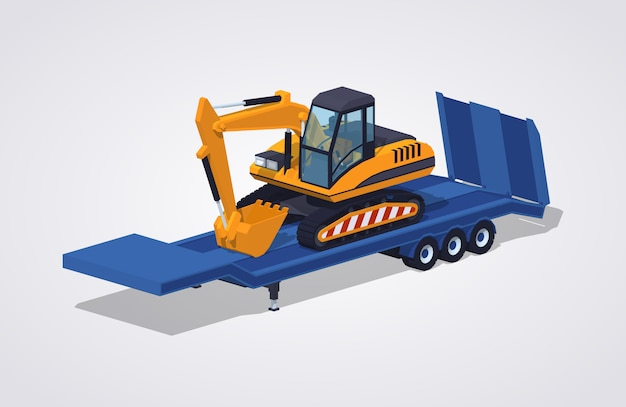 3d isometric excavator on the low-bed trailer