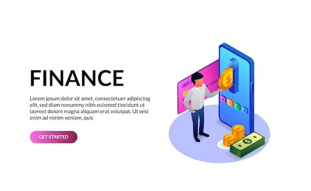 통화 보고서 경제에 대한 3d 아이소 메트릭 금융 은행 앱 돈 전화 및 사람 그림 개념